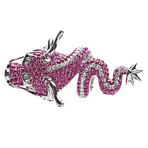 Dragon Fuchsia Pink Clear Crystals Silver Animal Stretch Adjustable Fashion Ring by Accessoriesforever (Image #1)