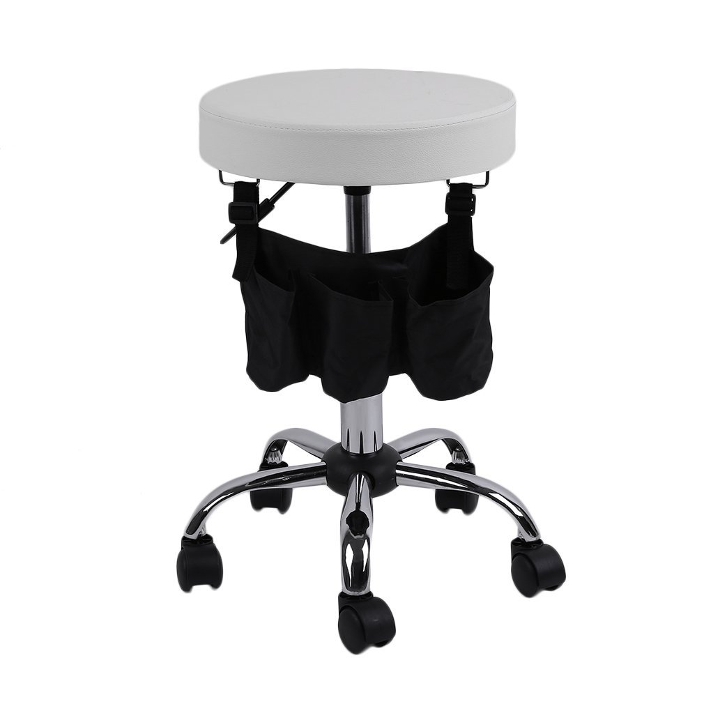 Homgrace Beauty Salon Rolling Swivel Stool, Tattoo Massage Facial Spa Adjustable Backrest Beauty Stool Chair (White 1)