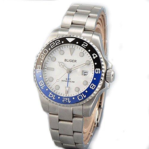Sapphire BLIGER 43MM White Dial Blue Black Ceramic Bezel GMT Function Automatic Movement Men's Wristwatch ()