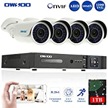 OWSOO 8CH 1080N/720P Onvif 1TB DVR Kit with 4PCS 720P Night Vision Built-in Waterproof LED High Resolution Outdoor/Indoor 1500TVL IR Cameras Surveillance CCTV Security Camera System