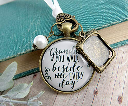 Grandmother Wedding Bouquet Charm Beside Me Photo Frame Memorial Rustic White Remembrance Jewelry For Bride