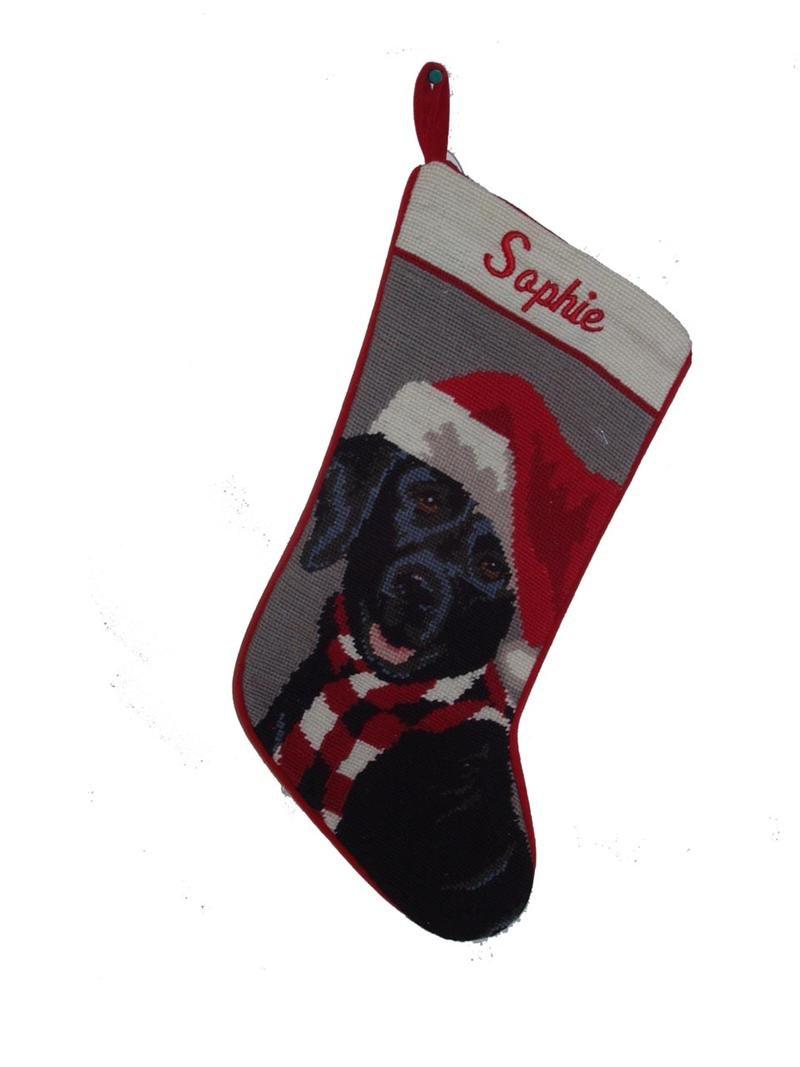 Needlepoint Christmas Dog Stocking-Black Lab