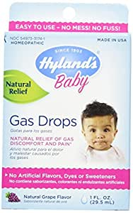 Hylands Baby Gas Drops, Natural Gas Discomfort and Pain Relief, Natural Grape Flavor, 1 Ounce - Buy Packs and SAVE (Pack of 2)