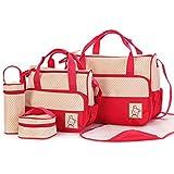 Sora kits Bolsa de Mama Para Bebe Biberon Bolso/Bolsa/Bolsillo Maternal Bebé para carro carrito biberón colchoneta comida pañal de color roja