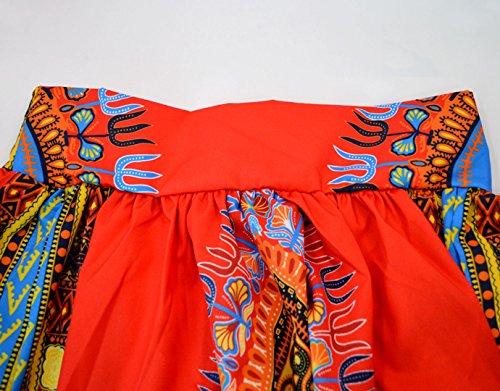 Monique Women African Style Floral Print Long Maxi Skirt High Waist Floor Length Skirts Dresses Longuettes for Ladies Yellow Orange L/XL by Monique (Image #4)