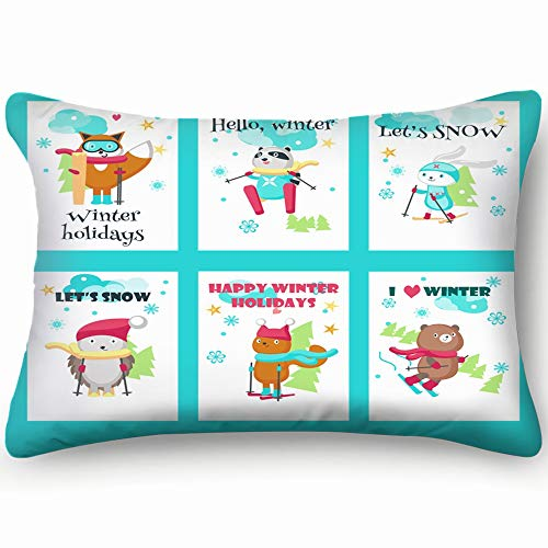 best bags Set Cards Cute Animals Enjoying Skiing Wildlife Animal Signs Symbols Skin Cool Super Soft and Luxury Pillow Cases Covers Sofa Bed Throw Pillow Cover with Envelope Closure 1624 Inch