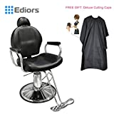 Ediors® New Black Hydraulic Recline All Purpose Barber Styling Chair Shampoo w/ Free Gift: Deluxe Cutting Cape
