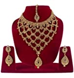 BAAL Gold-Plated Necklace Set With Earrings & Maang Tikka Jewellery Set For Women