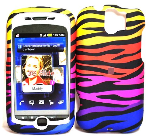 (Stylish Rainbow Zebra Rubberized Snap on Hard Skin Shell Protector Cover Case for Htc Mytouch 3g Slide in RETAIL PACKAGE)