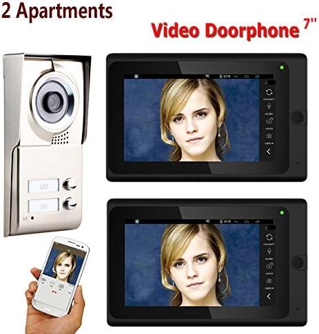防水2ボタン2モニタ付き7インチレコードの有線無線LANの2つのアパートビデオドア電話インターホンシステムIR-CUT HD 1000TVLカメラドアベルカメラ