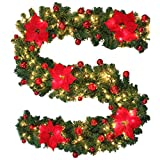BullStar 9 Feet Christmas Decorations Christmas Garland with Lights Artificial Wreath with Berries and Pinecones Xmas Decorations for Stairs Wall Door (1 Pack, C-red)