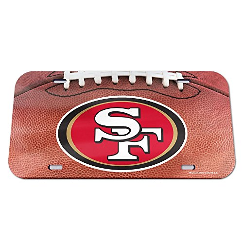 WinCraft NFL San Francisco 49ers Crystal Mirror Football License Plate, Team Color, One ()