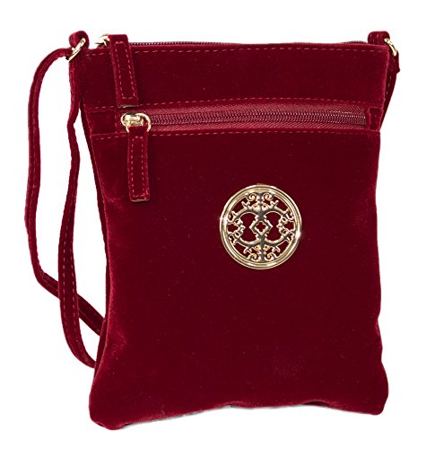 Red Wine Vintage Style Velvet Crossbody Party Bag, Small Purse with Shoulder Strap Lined Suede Shoulder Bag