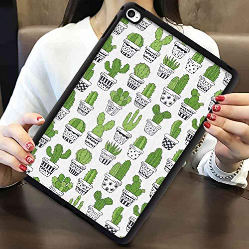 iPad Air 2 (2014) Case iPad Air 2 [2014] Case [9.7inch] Cactus Succulent Spiky Cacti Doodle Patterned Pots Exotic Houseplants Charcoal Grey Apple Green White