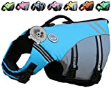 Vivaglory New Sports Style Ripstop Dog Life Jacket with Superior Buoyancy & Rescue Handle, Lake Blue, S