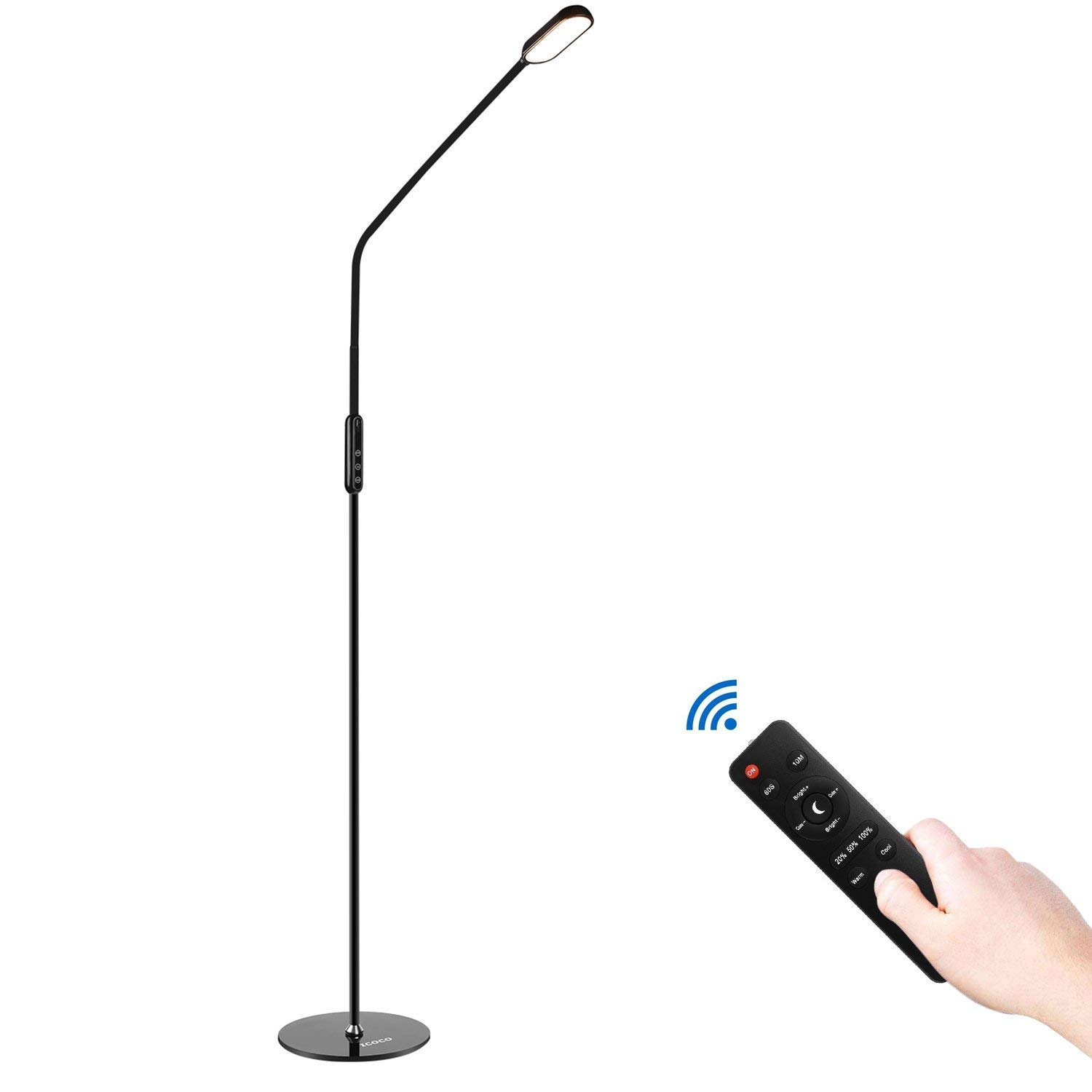 ICOCO Floor Lamp LED Standing Reading Desk Lamps with Remote Control Gooseneck Adjustable Pole Height 5 Levels Dimmable Brightness 5 Color Temperatures Lamp for Living Room Bedroom (9W)
