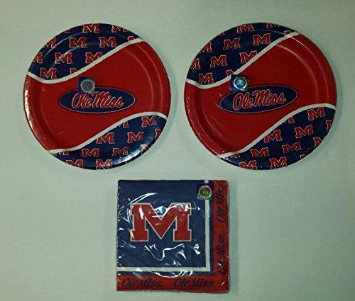 online retailer 85a3a c26e8 Ole Miss Rebels Party Bundle 9″ Plates (16) Lunch Napkins (20)