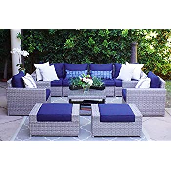 Amazon Com Outdoor Patio Sofa Sectional Wicker Furniture