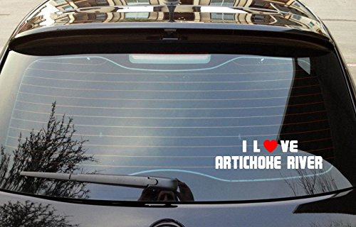 "I LOVE ARTICHOKE RIVER Massachusetts Rivers Vinyl Decal Bumper Window Sticker 8"" x 3"" - Artichoke Windows"
