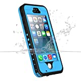 iPhone 5S 5 SE Waterproof Case, iThrough Underwater, Dust Proof, Snow Proof, Shockproof Case with Touched Transparent Screen Protector,Protective Cover Case for iPhone 5 5s SE (Blue)