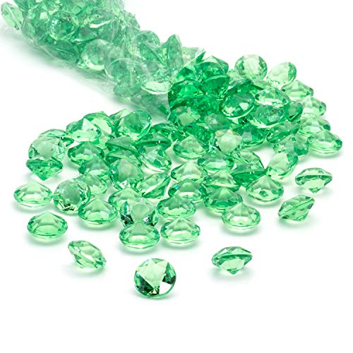 Acrylic Diamonds Gems Crystal Rocks for Vase Fillers, Party Table Scatter, Wedding, Photography, Party Decoration, Crafts by Royal Imports, 1 LB (Approx 140-160 gems) - Green