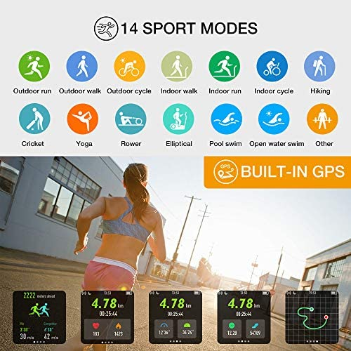 """UMIDIGI GPS Smart Watch, Activity Fitness Tracker with Heart Rate Monitor, 1.3"""" Touch Screen Pedometer Smartwatch for Mens Womens, 5ATM Waterproof Step Counter Compatible with iPhone, Samsung, Android 6"""