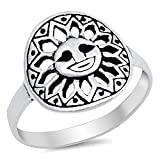 925 Sterling Silver Smiley Sunflower Ring Size 6
