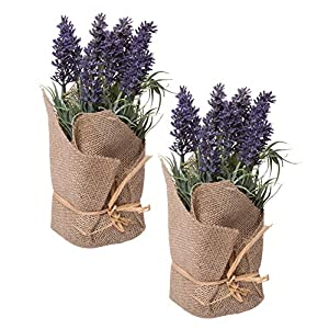 Red Co. Lovely Lavender Burlap Wrapped Artificial Floral Arrangement, Home & Garden Décor, Set of 2 Small Bunches, 9-inch 46