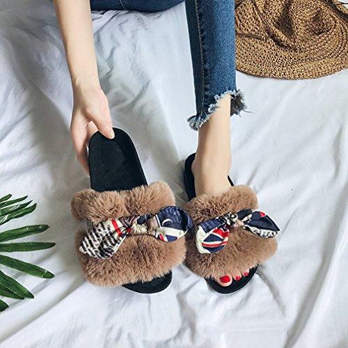 Giy Femmes Pantoufles Chaudes Dhiver De Fourrure Pantoufles Dintérieur Pour Les Femmes Bowknot Confortables Peluches Maison Anti-dérapant Brun