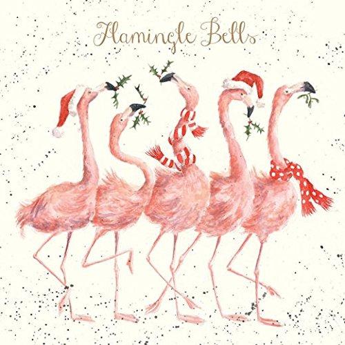Flamingo Christmas Cards.Artistic Christmas Card Wre1007 Flamingle Bells Festive Flamingos Wrendale Designs Foil Finish