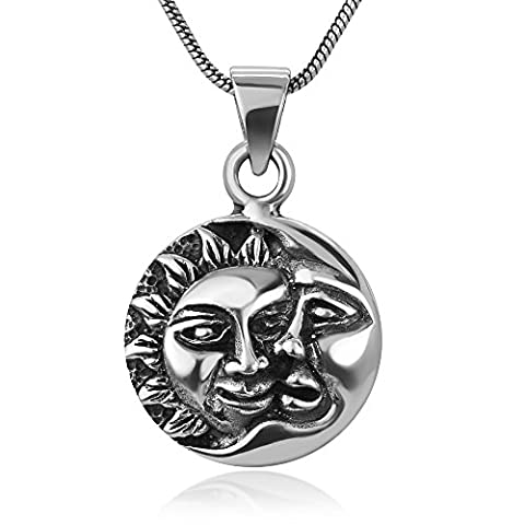 925 Sterling Silver Crescent Moon & Sun Celestial Lunar Face Yin Yang Round Pendant Necklace, 18