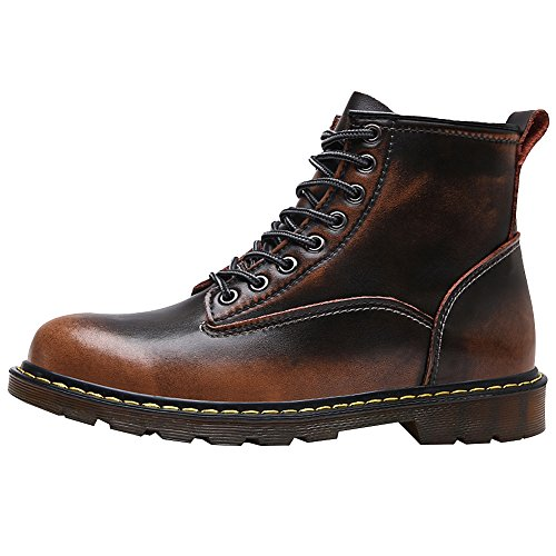 Jamron Brown Durable Chukka Boots Unisex Boots Boots Men Ankle Martin Women Vintage Boots Combat Motorcycle wwxqR6rF