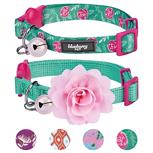 Kitten Collar Collars Cat - Blueberry Pet 4 Designs Pack of 2 Cat Collars, The Power of All in One Relaxing Jungle Green Adjustable Breakaway Cat Collar for Girl & Boy with Bell & Detachable Flower, Neck 9