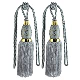 uxcell 2Pcs Window Curtain Drapery Tassel Rope Tie Back Holdback Fringe Gray