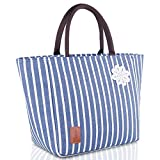 TianQin WY Insulated Lunch Tote Bag, Foldable/Leak-proof/Large Capacity Lunch Box for Women, Reusable Lunch Tote Cooler Organizer Bag Lunch Bag for Women,G-213Blue&White strip
