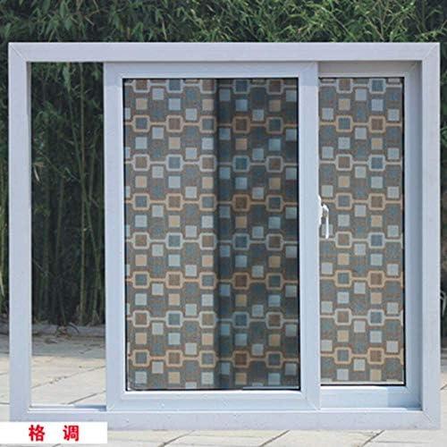 ガラスフィルムウィンドウフィルムステンドグラスプライバシーウィンドウフィルム、PVC自己接着ガラスフィルム、つや消し断熱装飾窓ステッカー、90×200センチ
