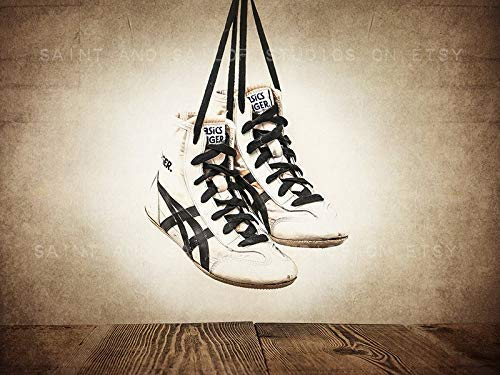Amazon Com Vintage Wrestling Shoes And Headgear Wall Art Set Of 2 Sports Decor Available As Print Or Canvas Handmade