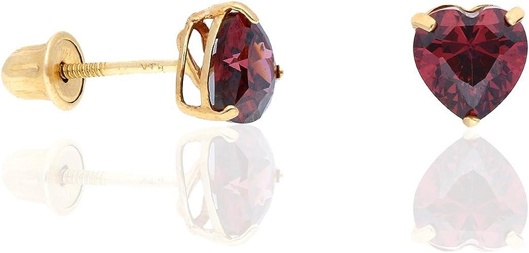 14k Gold Small CZ Heart Birthstone Stud Earrings w// Screw-back June-Alexandrite