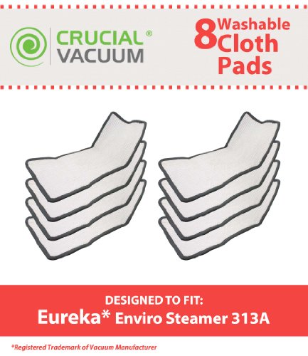 8 Eureka Enviro Floor Steamer Washable & Reusable Pads Fit Eureka Enviro Floor Steamer 310A, 311A, 313A, Compare To Eureka Enviro Hard Floor Steam Cleaner Part # 60978, 60980, 60980A, Designed & Engineered By Crucial Vacuum (Floor Steamer Eureka compare prices)
