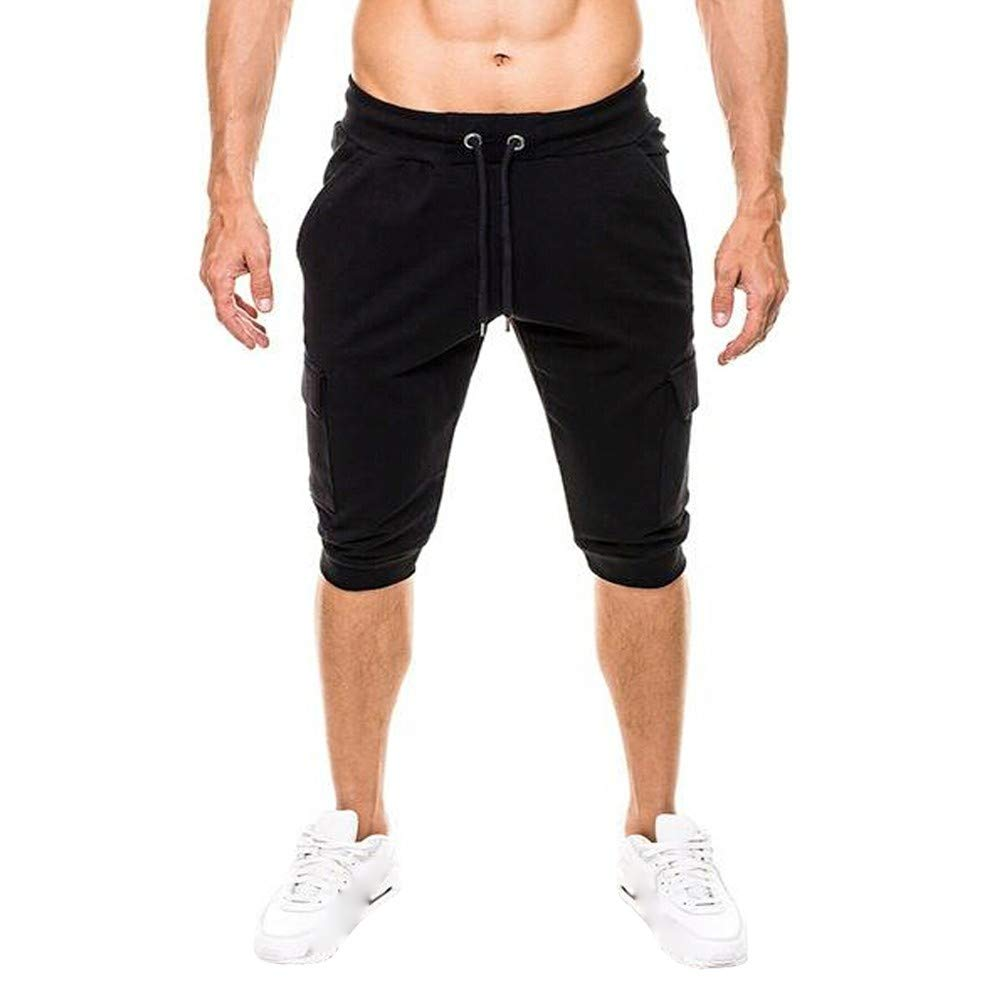 SMALLE ◕‿◕ Clearance,Sport Pants for Men,Fashion Casual Shorts Pockets Solid Slim-Fit Style Pants Sport Pant