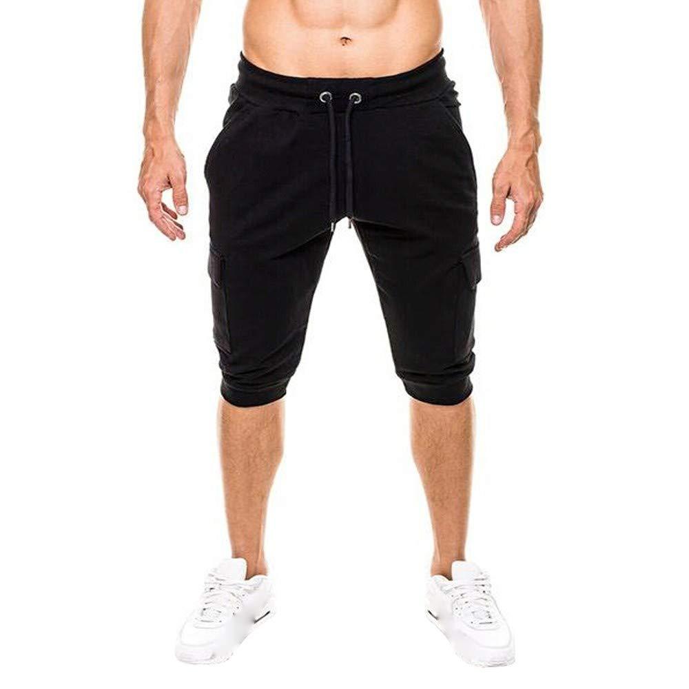 Spbamboo Mens Casual Shorts Pockets Elastic Waist Solid Slim Fit Sport Pants