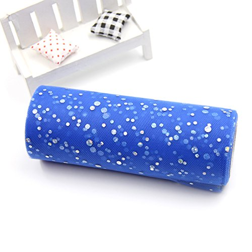 Xiaolanwelc@ 10YardX15cm Glitter Sequin Tulle Roll Crystal Organza Sheer Gauze Element Table Runner&Home Garden/Wedding Party Decoration (Deep Sapphire) from Xiaolanwelc