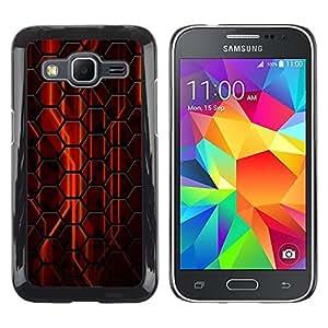 Be Good Phone Accessory // Dura Cáscara cubierta Protectora Caso Carcasa Funda de Protección para Samsung Galaxy Core Prime SM-G360 // Abstract Red Hexagon