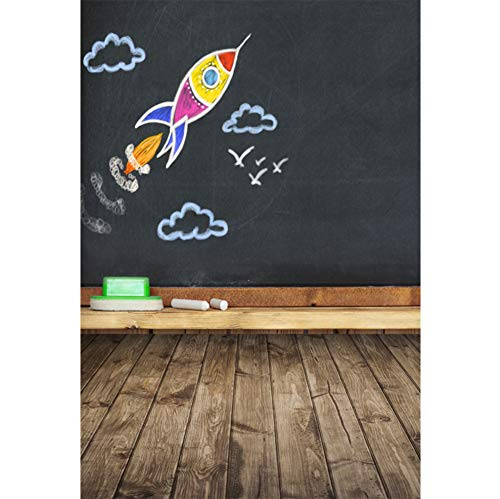 OFILA Back to School Backdrop 3x5ft School Blackboard Photography Background Chalk Drawing Wood Floordrop Kids Back to School Events Portraits Kids Back to School Party Photobooth Studio Props]()