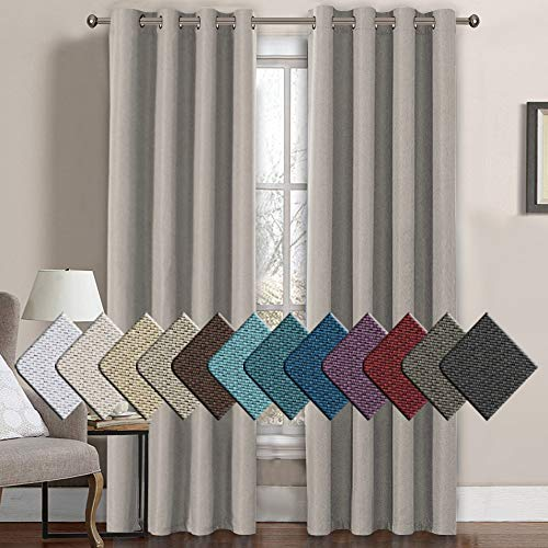 H.VERSAILTEX Linen Curtains 84 Thermal Insulated Energy Efficient Textured Linen Curtain Panels for Bedroom/Living Room Natural Feeling Grommet Window Treatment, 52 by 84 Inch - Taupe (1 Panel) (Window Panel Taupe)