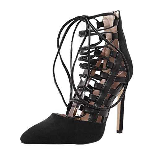 - UOKNICE SANDALS Women Stiletto Work Ankle Strappy Rome Lace-up Sandals Pointed Toe Party Shoes(Black, CN38(US 6.5))