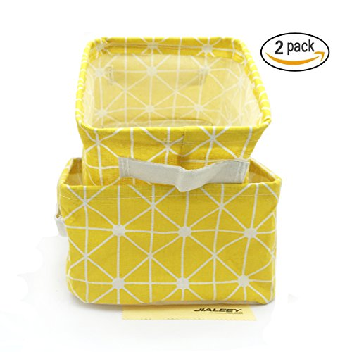 Collapsible Storage Bin Basket, JIALEEY 2 Pack Canvas Fabric Foldable Storage Cube Box with Handle for Kids, Makeup, Book, Toy, Closet, 8