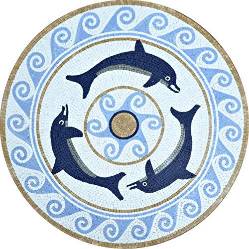 Mozaico Mosaic Medallion - Navy Dolphins | Mosaic Designs | Mosaic Artwork | Mosaic Wall Art Handmade Mosaics | 24
