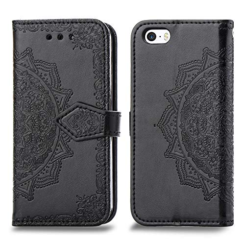 (Cmeka Mandala Wallet Case for iPhone SE/iPhone 5S/iPhone 5,Slim 3D Relief Flower Flip Leather Protective Case,Magnetic Closure,Card Slots,Kickstand Function (Black))