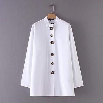 Cnsdy Camisas para Mujeres Botones de Largo Medio con Contraste Camisas de Lino Camisas para Mujeres Camisetas con Cuello Alto de Manga Larga: Amazon.es: ...